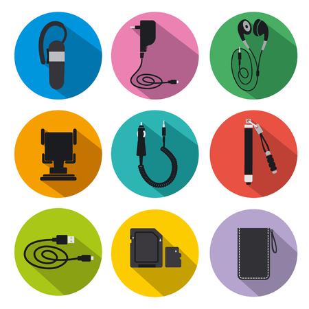 ilustración de conjunto de iconos de accesorios móviles para teléfono