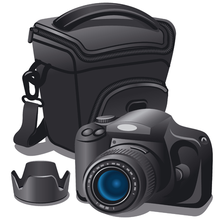 Illustration of photo camera and case on white background