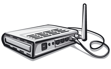 Illustration of plugged modem router in network Illustration