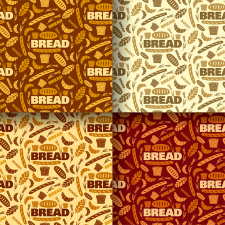 Illustration of bread and bakery seamless pattern background in four colors Illustration