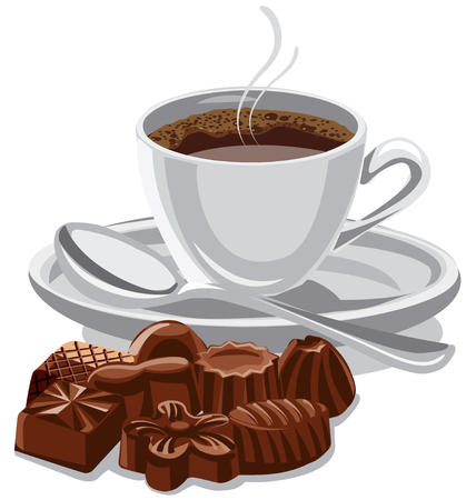 Illustration of coffee cup and chocolate sweets