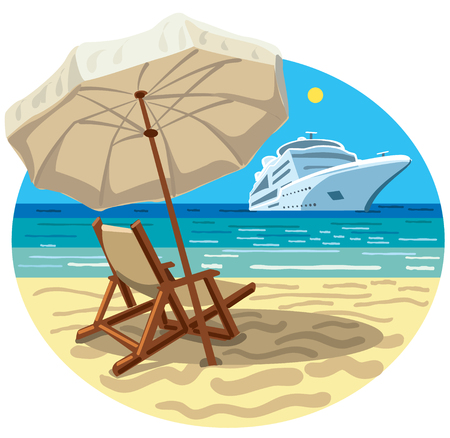 Illustration of tropical beach resort and ocean cruise ship