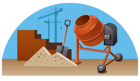 Concept illustration of construction work with tools