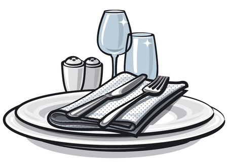 Illustration of table setting with knife, fork and glasses on table Illustration