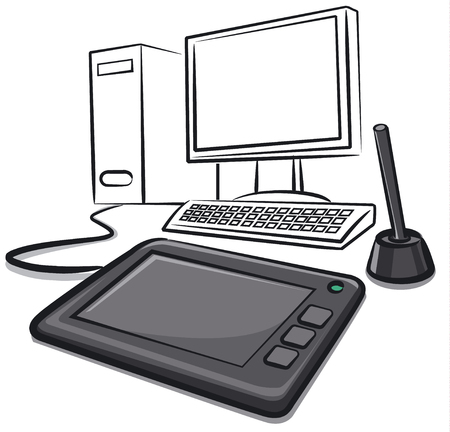Illustration of digital graphics tablet with computer Illustration