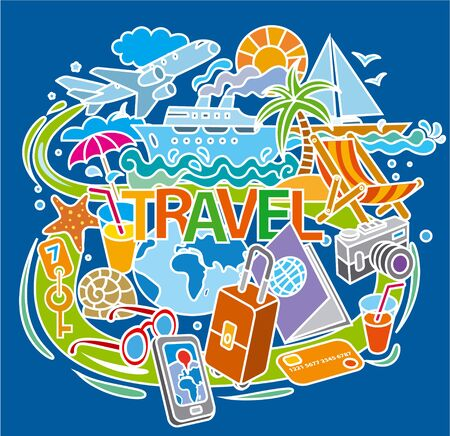 Illustration of concept doodle for travel, journey and tourism around the world