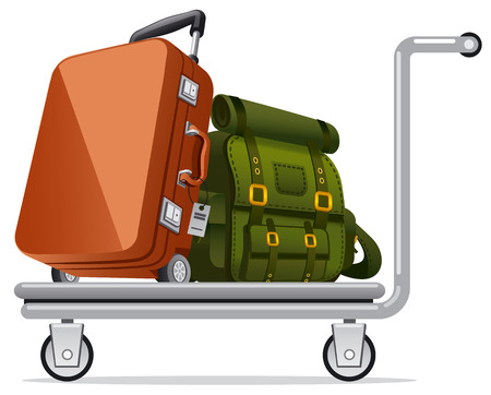 Illustration of luggage on transportation trolley