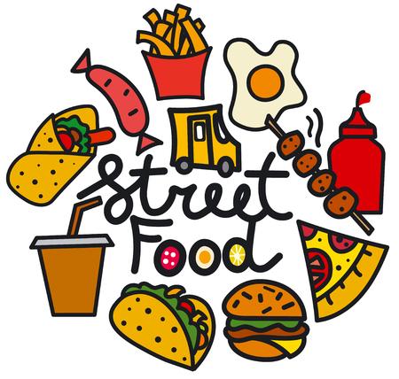 Illustration of street food cover for menu cafe restaurant
