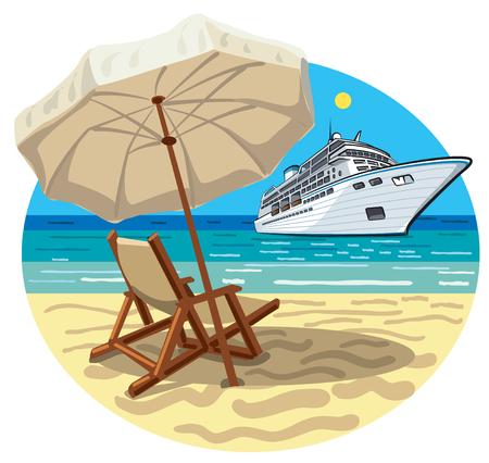 Illustration des tropischen Strandurlaubsorts und des Kreuzschiffs