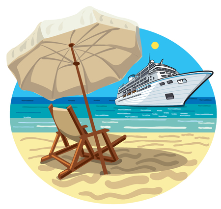 Illustration of tropical beach resort and cruise ship Çizim