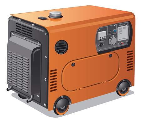Illustration of industrial and home power generators on wheels Illustration