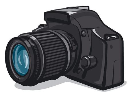 Illustration of professional camera on white background Illustration