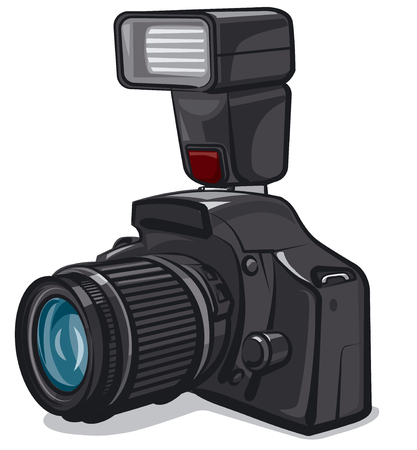 Illustration of professional camera with flash