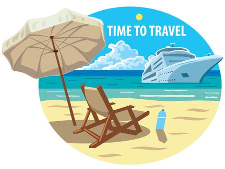Concept illustration of beach resort and ocean cruise ship Illustration