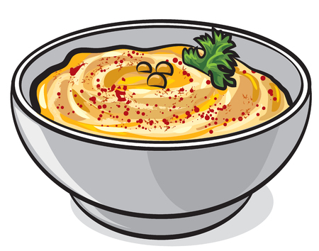 Illustration of traditional eastern dish humus in bowl