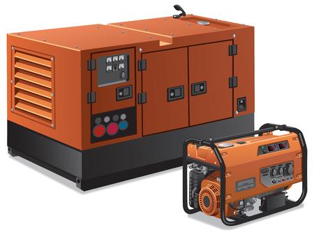 異なる種類の産業用発電機と家庭用発電機のイラスト  イラスト・ベクター素材