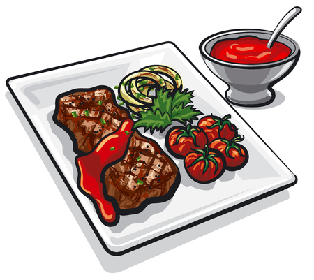 Illustration of grilled beef steak with vegetables and tomato sauce Illusztráció