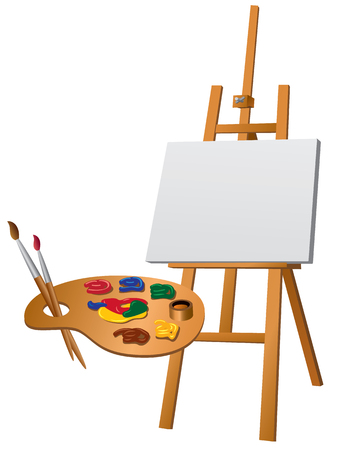 Illustration of art easel and palette with brushes