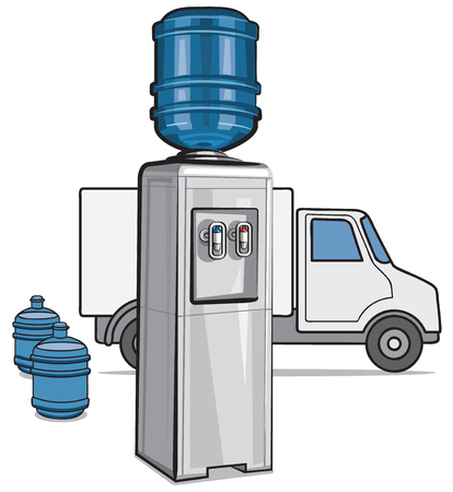 Illustration of water cooler and water delivery service