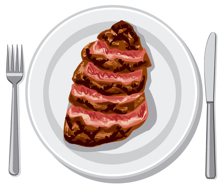 Illustration of prepared cooked beef steak on plate