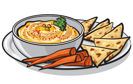 Illustration on eastern dish humus with pita on plate