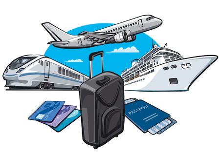 Illustration of transport for travel and journey with passport and luggage Vectores