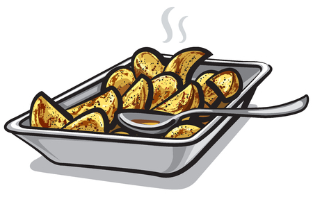 Illustration of hot roasted potatoes in plate