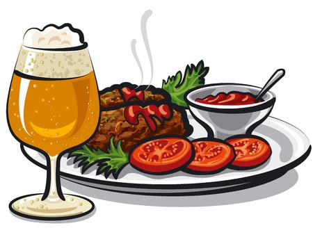 ソースとビールのガラスとホット カツレツのイラスト  イラスト・ベクター素材