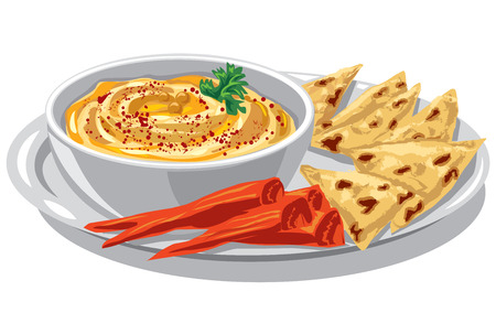 Illustration of jewish dish humus with pita on plate Иллюстрация