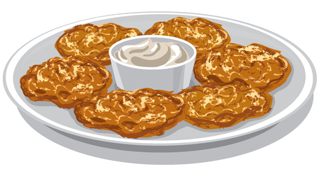 Illustration of potato pancakes with sour sauce on plate