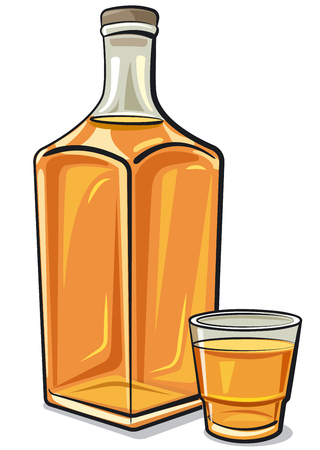 Illustration of whiskey bottle with a glass