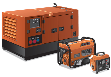 Illustration of different type of industrial and small power generators Illustration