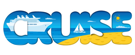 Illustration of concept text banner for cruise resort and travel