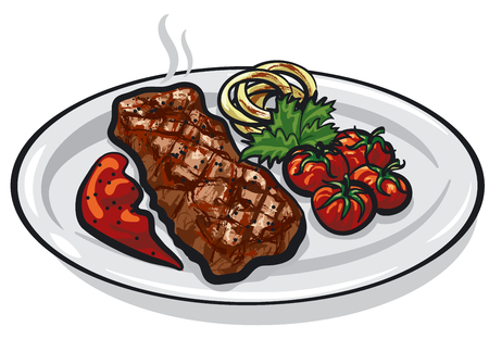 illustration of grilled roasted steak with vegetables on plate Stock fotó - 93261087
