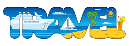 Illustration of concept text  signage for cruise resort and travel