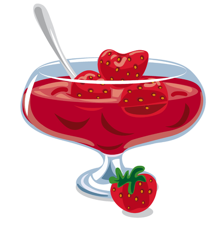 Illustration of strawberry jam in jar on the table Vectores