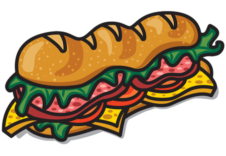Illustration of sandwich with lettuce, sausage, tomatoes and cheese