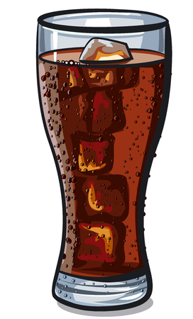 illustration of cola glass with ice cubes  イラスト・ベクター素材