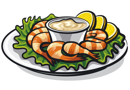 Illustration of shrimps cocktail with sauce and lemons on plate Illustration