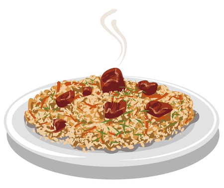 illustration of hot pilaf with rice, meat and carrot on plate