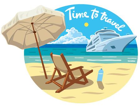 illustrazione di concetto con lo slogan della stazione balneare e della nave da crociera dell'oceano