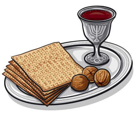 Illustration of traditional jewish matzoh with walnuts and wine