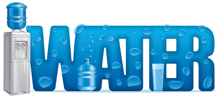 concept illustration of clear natural water banner letter and water cooler