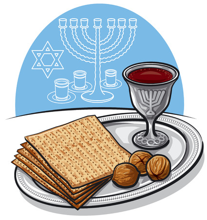 Illustration of traditional jewish matzoh with walnuts and wine in passover