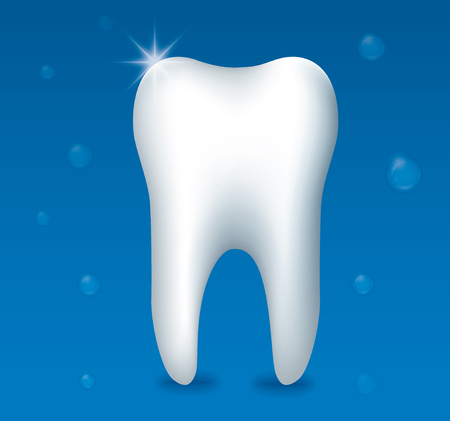 illustration of healthy tooth on blue background