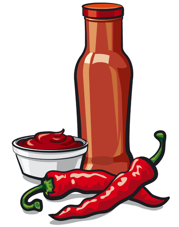 Illustration of chilli tomato spicy ketchup and sauce