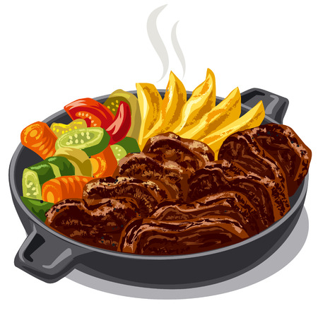 illustration of roasted meat with vegetables in pan Illustration
