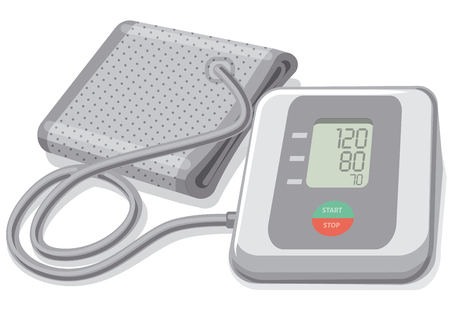 Illustration of modern digital blood pressure monitor