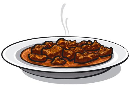 Ilustración del plato de carne gulash tradicional en placa. Ilustración de vector