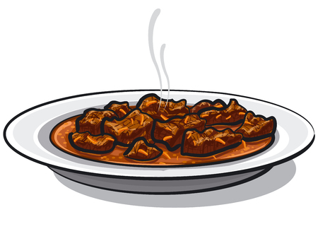 Illustration of traditional goulash meat dish in plate.